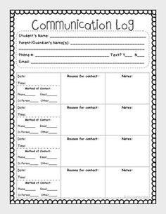 Parent Communication Printable Log Free  Editable  Parent