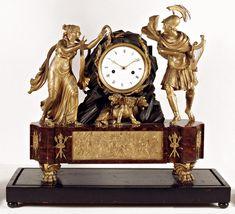 Pendulum shelf, Paris, early nineteenth century, red marble, gilt and patinated bronze, enamel