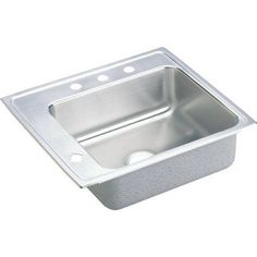 Elkay DRKRQ2220L4 Lustertone Stainless Steel Single Bowl Top Mount Quick-Clip Sink with 4 Faucet Holes, Multicolor
