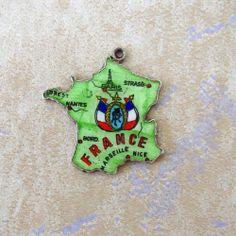 Vintage Sterling Silver France Country Map Enamel Bracelet Charm Flag Travel