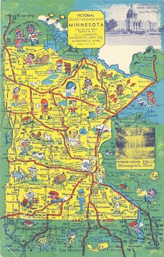 POSTCARDY: the postcard explorer: Pictorial Quick Mileage Map - Minnesota