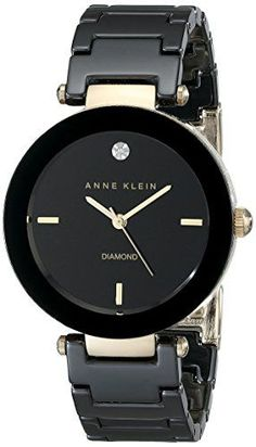 Anne Klein Women's Black Round Ceramic Diamond Watch - Round black watch with black sunray dial featuring diamond marker at 12 o'clock, placed indices, and fluted, gold-tone crown - 30 mm brass case with mineral dial window Stylish Watches, Cool Watches, Watches For Men, Black Watches, Women's Watches, Wrist Watches, Jewelry Watches, Diamond Watches, Ladies Watches