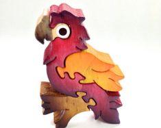 Decoración hecha a mano de madera rompecabezas Animal juguete loro Natural frambuesa rojo