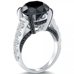 7.99 Carat Certified Natural Black Diamond Engagement Ring 14k White Gold - Black Diamond Engagement Rings - Engagement
