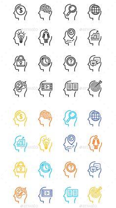 Symbol Human Mind Color Thin Line Icon Set - Miscellaneous Conceptual
