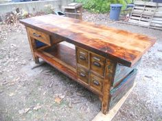 Furniture: Wood For Work Bench Top With Small Drawers Ideas: Wood Materials of Workbench Top Design