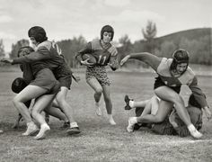"Oct. 14, 1939. ""Captain Alice Shanks, carrying football, in Powder Bowl at Gunnison, Colorado."""