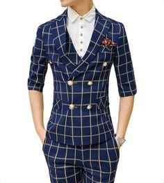 navy-blue-beige-plaid-elegant-double-breasted-blazer #luxury #mensstyle