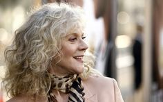 Blythe Danner, actress, and mother of another actress, Gwyenth Paltrow Grey Curly Hair, Curly Hair Styles, Long Curly, Blythe Danner, Grey Hair Inspiration, Beautiful Old Woman, Ageless Beauty, Going Gray, Aging Gracefully