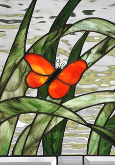 BUTTERFLY Contemporary Stained Glass Window by gallerydelsol