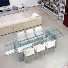 Mesas extensibles Tom con tapa de cristal - ARREDACLICK