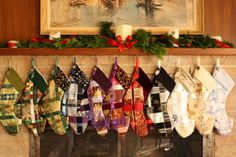 Woven ribbon Christmas stockings - etsy.com/hammerfairy