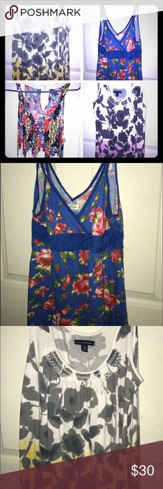 Floral Tanks Abercrombie (blue) & American Eagle Tanks. Selling together. Gently worn. American Eagle Outfitters Tops Tank Tops