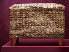 Woven sea grass gives this hinged-lid ottoman earthy texture. The large, flat top makes it a workable coffee table, too. From @grandinroad