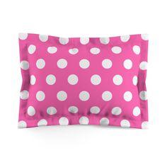 Hot Pink Polka Dots Girls Pillow Sham Bedding Bedroom Room Decor Hot Pink Decor, Navy Blue Decor, Room Decor Bedroom, Bedding Decor, Bedroom Bed, Pillow Shams, Pillow Cases, Pink Polka Dots
