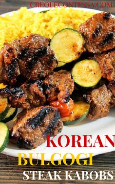 Grilled Korean Bulgogi Steak Kabobs with Yellow Rice Pilaf Creole Contessa Kabob Recipes, Beef Recipes, Cooking Recipes, Cajun Recipes, Grilling Recipes, Recipies, Korean Bulgogi, Korean Beef, Steak Kabobs