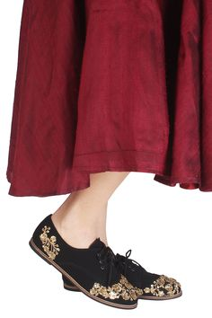 9e047cb7999a7f Black and gold floral embroidered lace up shoes available only at Pernia s  Pop Up Shop.