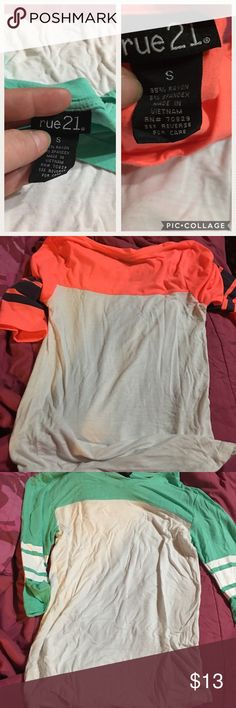 Rue21 tee shirts Orange & white AND turquoise & white soft tee from Rue 21. No holes or stains. Never worn but tags have been removed. Christmas gift for my daughter but she didn't like the shirt. Size Small Buyer will get BOTH shirts! Pet friendly smoking home Rue 21 Tops Tees - Short Sleeve