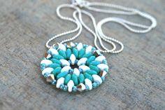 Turquoise and White SuperDuo Beaded Mandala Pendant by MindyG