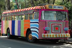 Yarn-bombed bus!