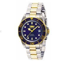 ShopHQ Shopping - Invicta Men's Pro Diver Automatic Date Two-tone Stainless Steel Bracelet Watch. Invicta Men's Pro Diver Automatic Date Two-tone Stainless Steel Bracelet Watch Choices: Black or Blue dial Invicta Pro Diver Automatic, Automatic Watch, Stainless Steel Watch, Stainless Steel Bracelet, Color Azul, Kid Shoes, Quartz Watch, Gold Watch, Jewelry Stores