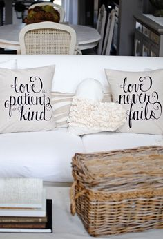 Pillow covers....I am going to try to make these.Words are from a verse in the Bible used in our wedding vows