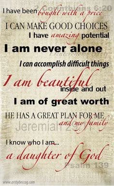 scripture for girls about being daughters of god - Google Search