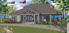 House Plan 59391, Order Code PT101   Coastal Southern Plan with 1385 Sq. Ft., 2 Bedrooms, 2 Bathrooms