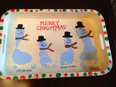 10 ideas for handprint or footprint Christmas crafts.