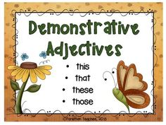 The demonstrative adjective cards included in this product are perfect for small groups, independent work, or for literacy centers. I have included a cover sheet with directions for students, 30 task cards, a student recording sheet and an answer sheet.  $