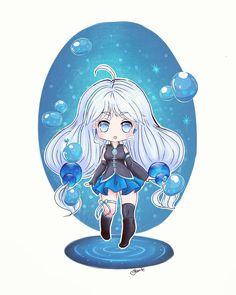 Water magical girl chibi version  Easy paint tool sai @le_chat_lunaire_draws #chibi