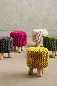 hand knit tuffet #anthrofave