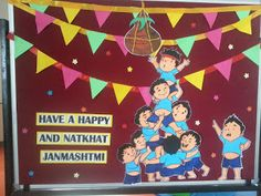 Art ,Craft ideas and bulletin boards for elementary schools: Janmashtami bulletin board Janamashtami Decoration Ideas, Notice Board Decoration, School Board Decoration, Class Decoration, Craft Ideas, Classroom Window Decorations, School Decorations, Display Boards For School, School Displays
