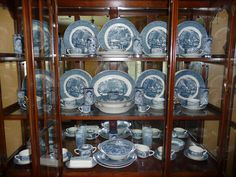 Currier and Ives Collection- I love my set! It looks lovely on our big oak table in our 112 yo old farmhouse. Dish Display, China Display, Vintage Dishes, Antique Dishes, House Of Gold, Old Fashioned Kitchen, Currier And Ives, White Dishes, Blue And White China