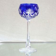 1 Art Deco Römer, Überfangglas, Kristall, Val St. Lambert, Kunstglas, blau