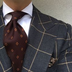 Dark grey windowpane jacket and wine tie  #Menfashion #Gentlemanstyle