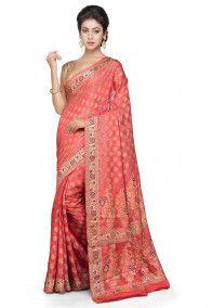 Banarasi Pure Silk Georgette Saree in Coral Red