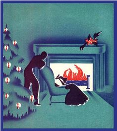 Sophisticated Christmas card from the Art Deco period (1930s).