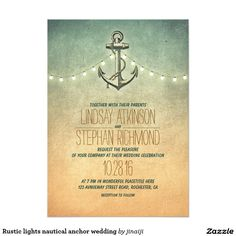Rustic lights nautical anchor wedding 5x7 paper invitation card