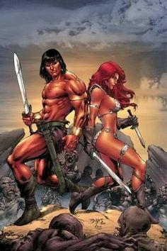 m Barbarian Conan & f Barbarian Red Sonja wilderness desert battle Comic Book Characters, Comic Character, Comic Books Art, Fantasy Characters, Comic Art, Dark Fantasy Art, Fantasy Artwork, Boris Vallejo, Red Sonja