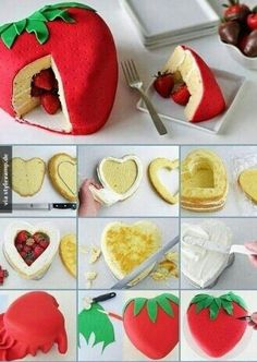 Super leckerer Erdbeerkuchen, mit einer erdbeerigen-Überraschung! Tolle Idee!