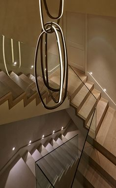 Belgravia staircase by Todhunter Earle. Stair Lighting, Cool Lighting, Lighting Design, Office Lighting, Industrial Lighting, Interior Design London, Luxury Interior, Interior Architecture, Railing Design