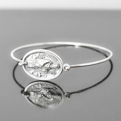St Patrick Bracelet Bangle, St Patrick Jewelry, Catholic Jewelry, Sterling Silver Bangle Bracelet, Medal Bracelet bangle by JubileJewel on Etsy