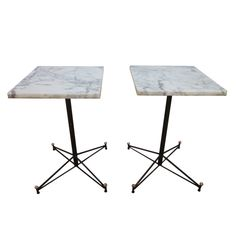 Italian Marble Top Wrought Iron Snack Table