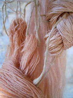A closer look at the St. John'swort dyed yarn, by Mary Lena Lynx - beautiful subtle shades of color.