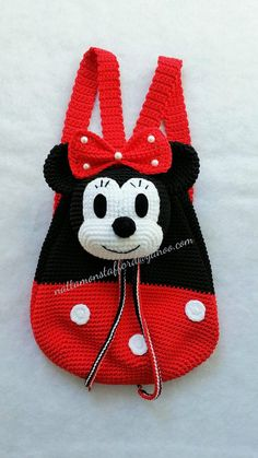 Nylon Minnie Mouse backpack, Handmade crochet backpack birthday gift, christmas gift,perfect to every girls. (Made to order) Minnie Mouse backpack Handmade crochet backpack by Crochet Disney, Crochet Mickey Mouse, Baby Knitting Patterns, Crochet Patterns, Crochet Backpack, Backpack Pattern, Mini Backpack, Minnie Mouse Backpack, Crochet Purses