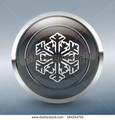 Snowflake symbol icon on black glossy button. - stock vector
