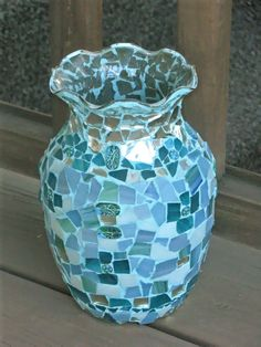 Mosaic Vase Light Blue Teal Handmade w Stained by GreenRoofGirl