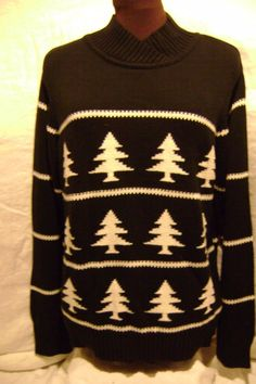 a2cfc2c421d26 TALBOTS WOMEN S BLACK  amp  WHITE SWEATER WITH CHRISTMAS TREES SIZE L   TALBOTS  VNeck