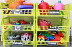 UBH Kiwi Bins for Garage Toy Storage.. here's a great post on organizing kid's toys in the garage.. practical and attractive. Use low bins for young kids to reach, printable tags